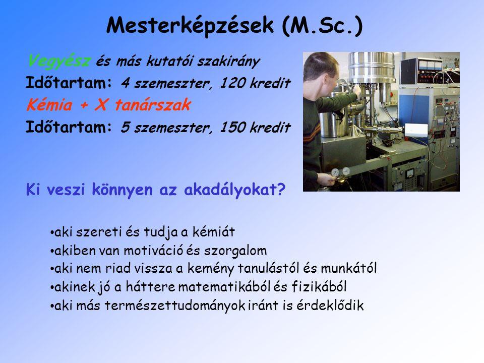 Mesterképzések (M.Sc.) Vegyész és más kutatói szakirány