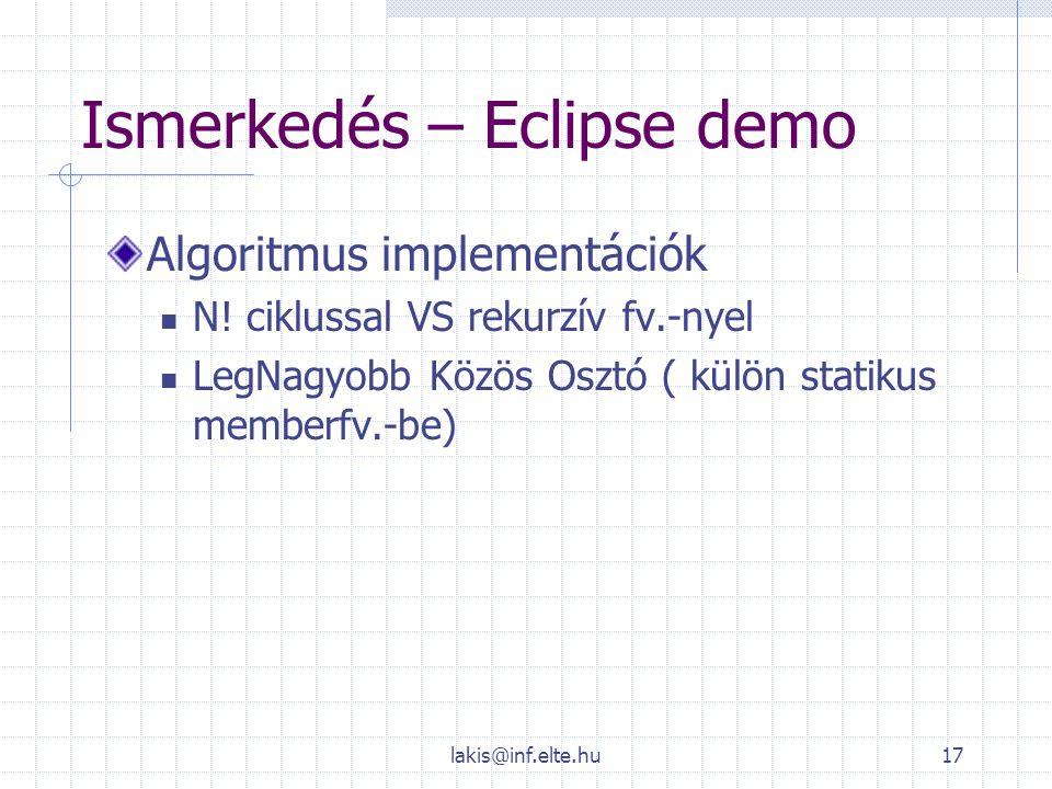 Ismerkedés – Eclipse demo