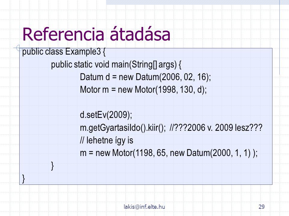 Referencia átadása public class Example3 {