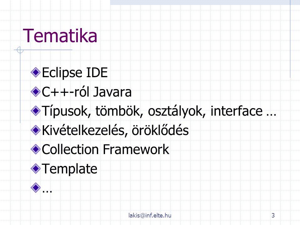 Tematika Eclipse IDE C++-ról Javara