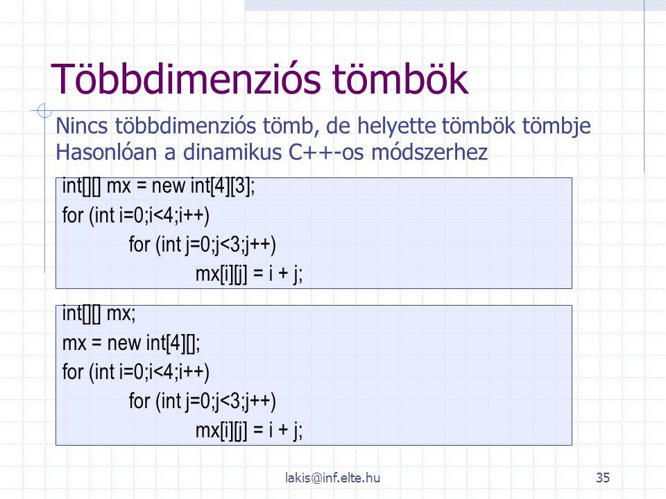Többdimenziós tömbök Nincs többdimenziós tömb, de helyette tömbök tömbje. Hasonlóan a dinamikus C++-os módszerhez.