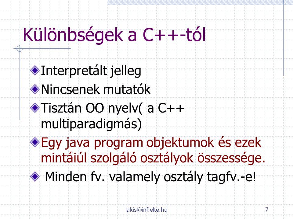 Különbségek a C++-tól Interpretált jelleg Nincsenek mutatók
