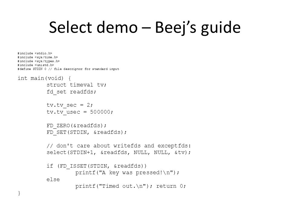 Select demo – Beej's guide