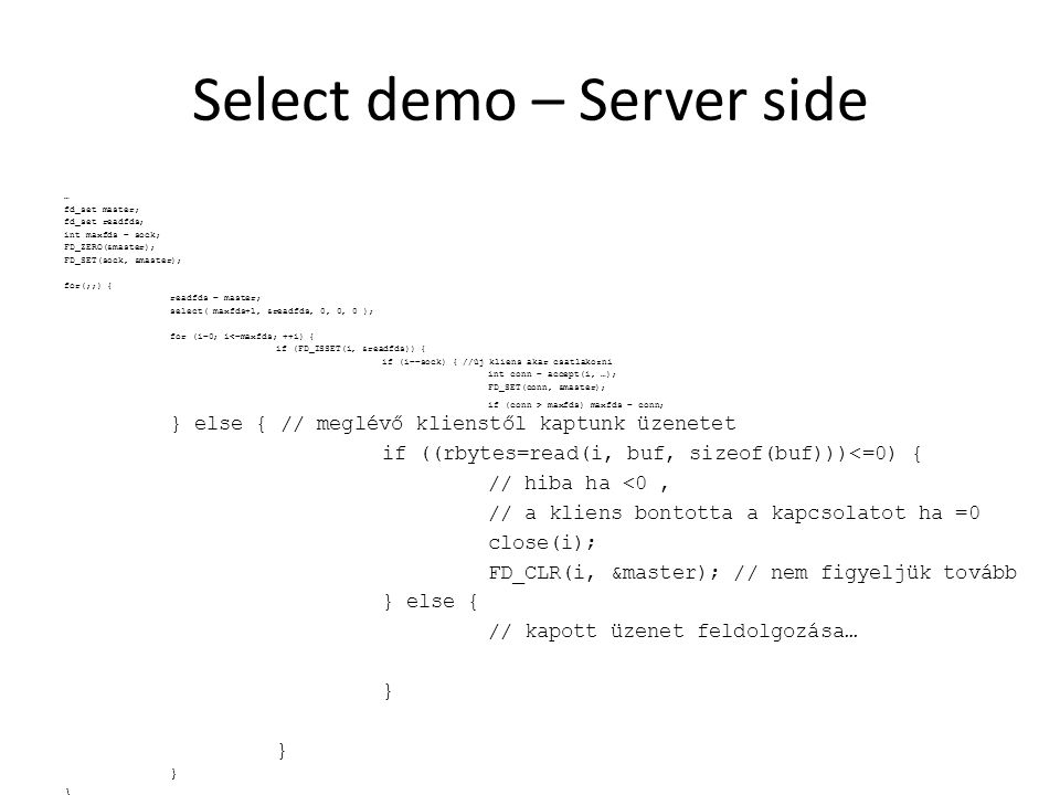Select demo – Server side
