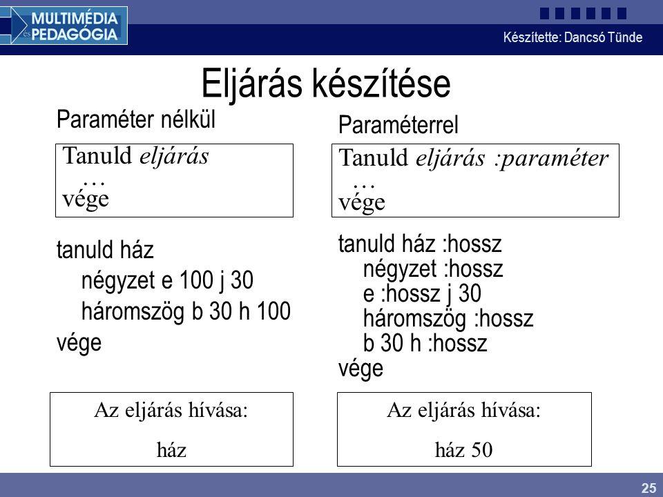 Eljárás készítése Paraméter nélkül tanuld ház négyzet e 100 j 30