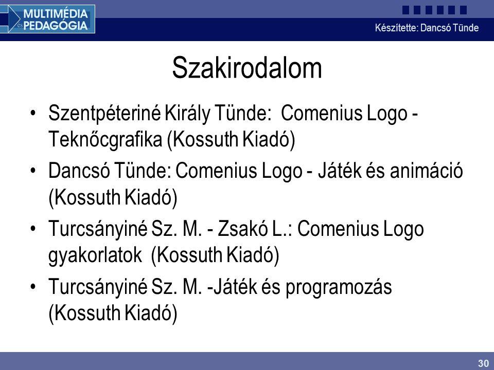 Szakirodalom Szentpéteriné Király Tünde: Comenius Logo - Teknőcgrafika (Kossuth Kiadó)