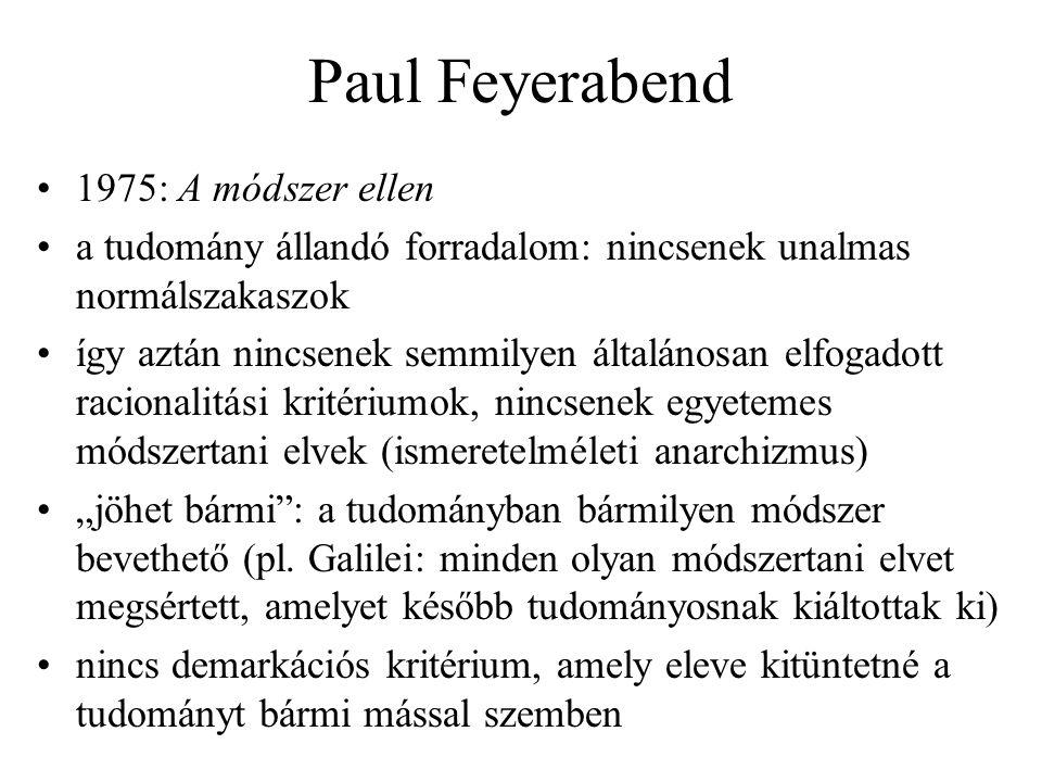 Paul Feyerabend 1975: A módszer ellen