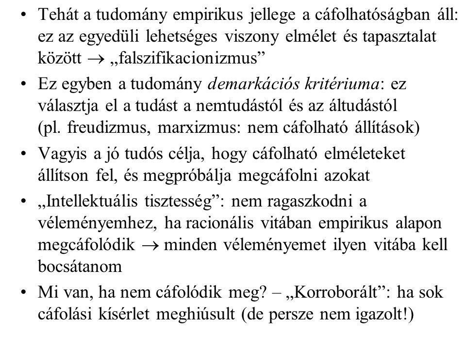 """Tehát a tudomány empirikus jellege a cáfolhatóságban áll: ez az egyedüli lehetséges viszony elmélet és tapasztalat között  """"falszifikacionizmus"""