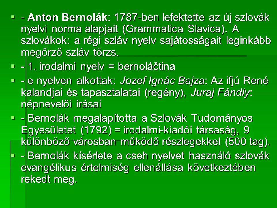- Anton Bernolák: 1787-ben lefektette az új szlovák nyelvi norma alapjait (Grammatica Slavica). A szlovákok: a régi szláv nyelv sajátosságait leginkább megőrző szláv törzs.