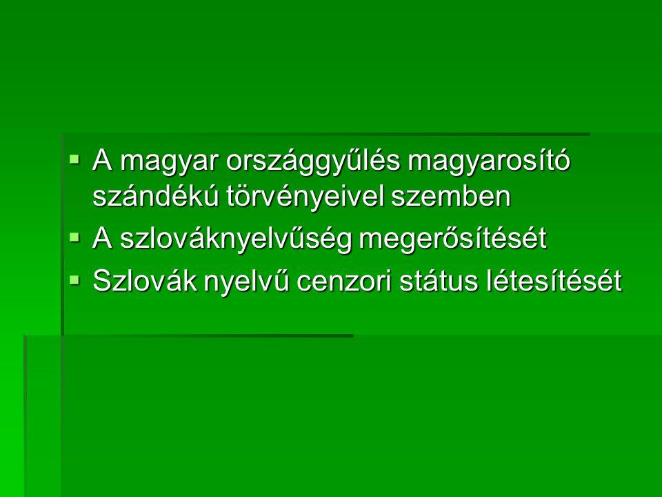 A magyar országgyűlés magyarosító szándékú törvényeivel szemben