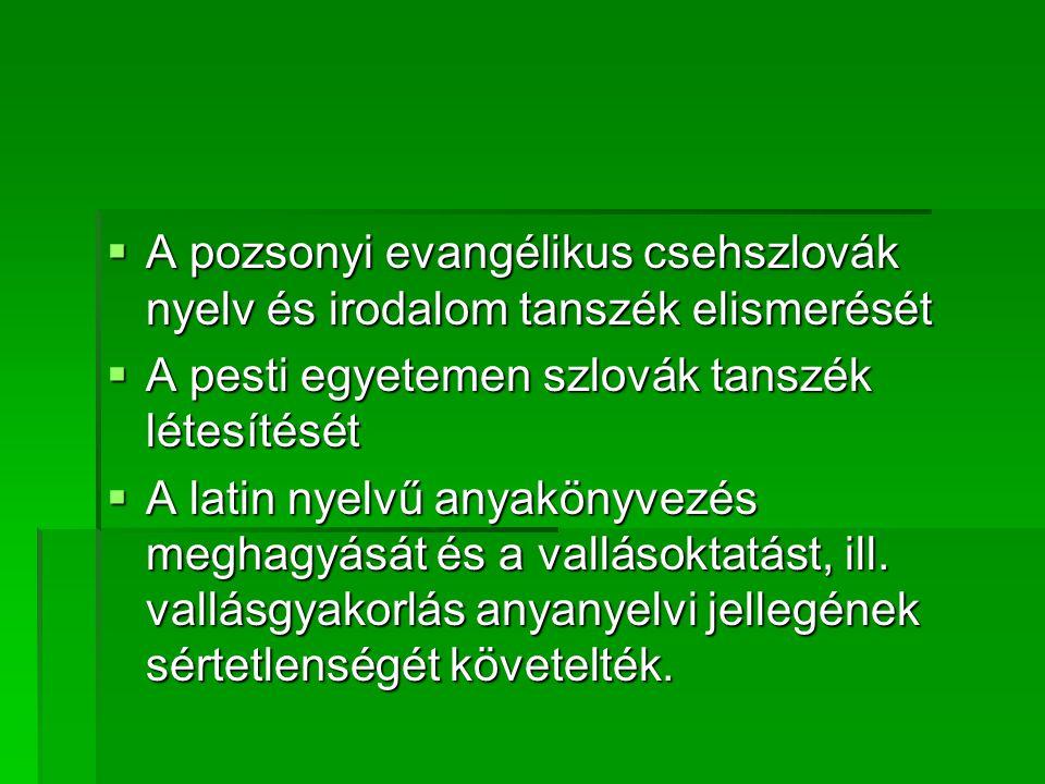 A pozsonyi evangélikus csehszlovák nyelv és irodalom tanszék elismerését