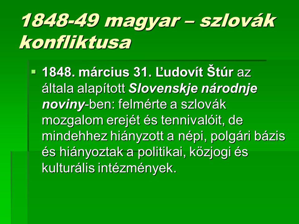 1848-49 magyar – szlovák konfliktusa
