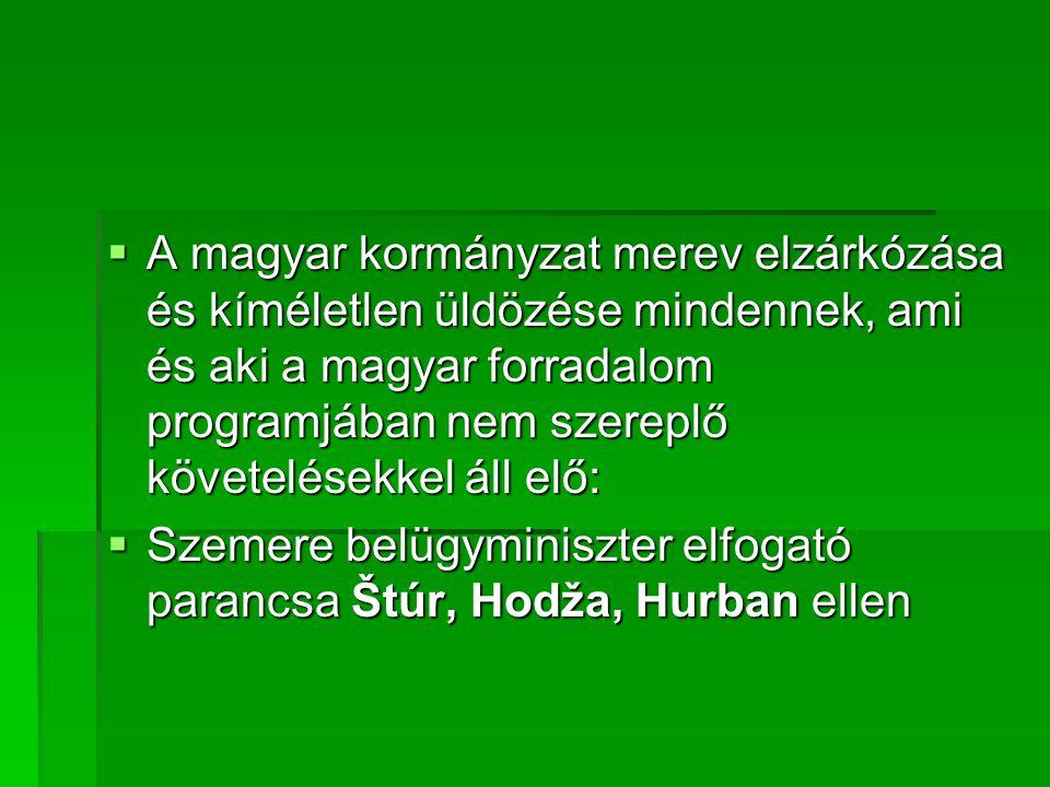 A magyar kormányzat merev elzárkózása és kíméletlen üldözése mindennek, ami és aki a magyar forradalom programjában nem szereplő követelésekkel áll elő: