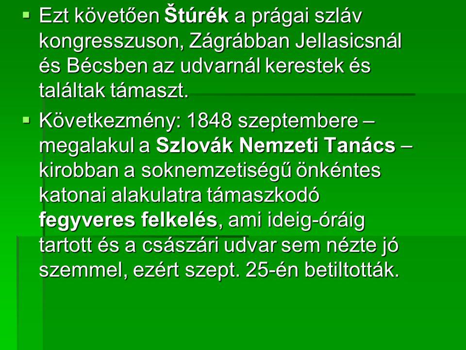 Ezt követően Štúrék a prágai szláv kongresszuson, Zágrábban Jellasicsnál és Bécsben az udvarnál kerestek és találtak támaszt.