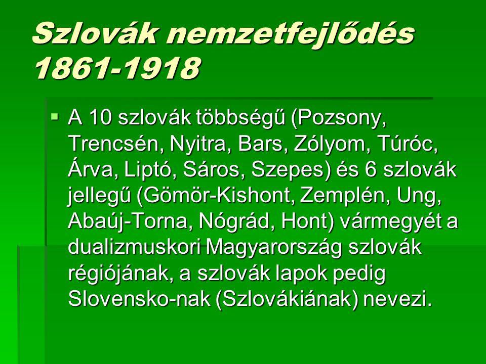Szlovák nemzetfejlődés 1861-1918