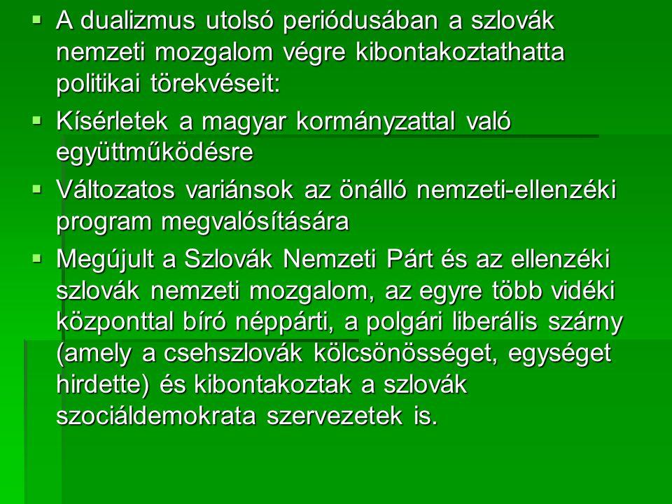 A dualizmus utolsó periódusában a szlovák nemzeti mozgalom végre kibontakoztathatta politikai törekvéseit: