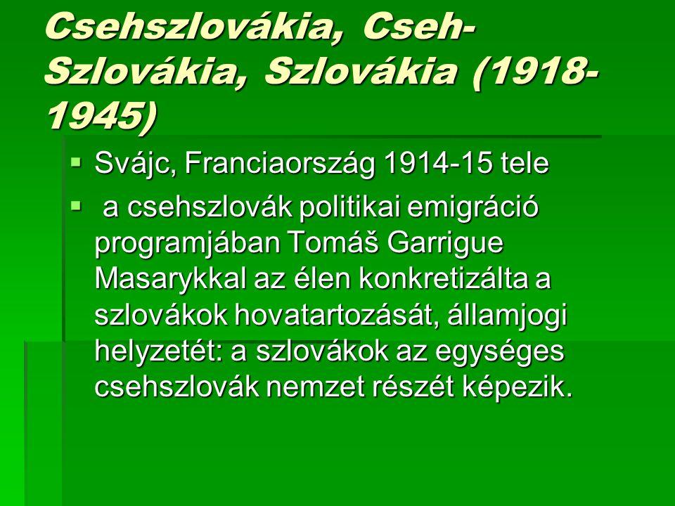 Csehszlovákia, Cseh-Szlovákia, Szlovákia (1918-1945)