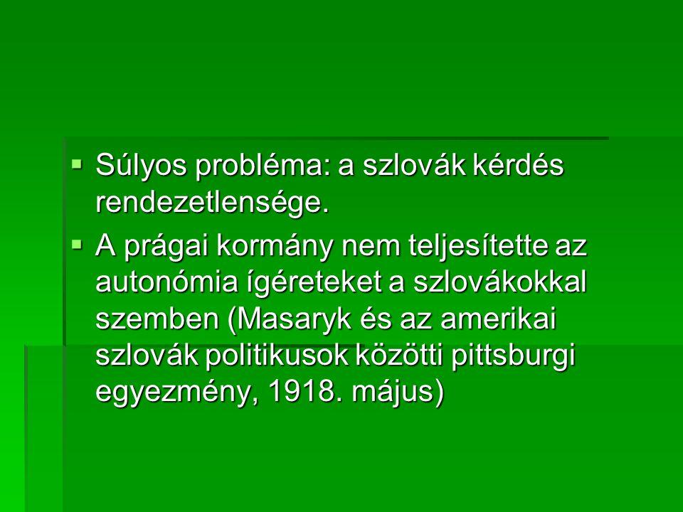 Súlyos probléma: a szlovák kérdés rendezetlensége.