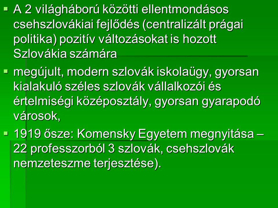A 2 világháború közötti ellentmondásos csehszlovákiai fejlődés (centralizált prágai politika) pozitív változásokat is hozott Szlovákia számára