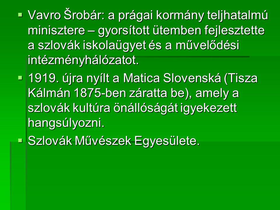 Vavro Šrobár: a prágai kormány teljhatalmú minisztere – gyorsított ütemben fejlesztette a szlovák iskolaügyet és a művelődési intézményhálózatot.