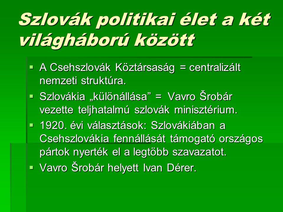 Szlovák politikai élet a két világháború között