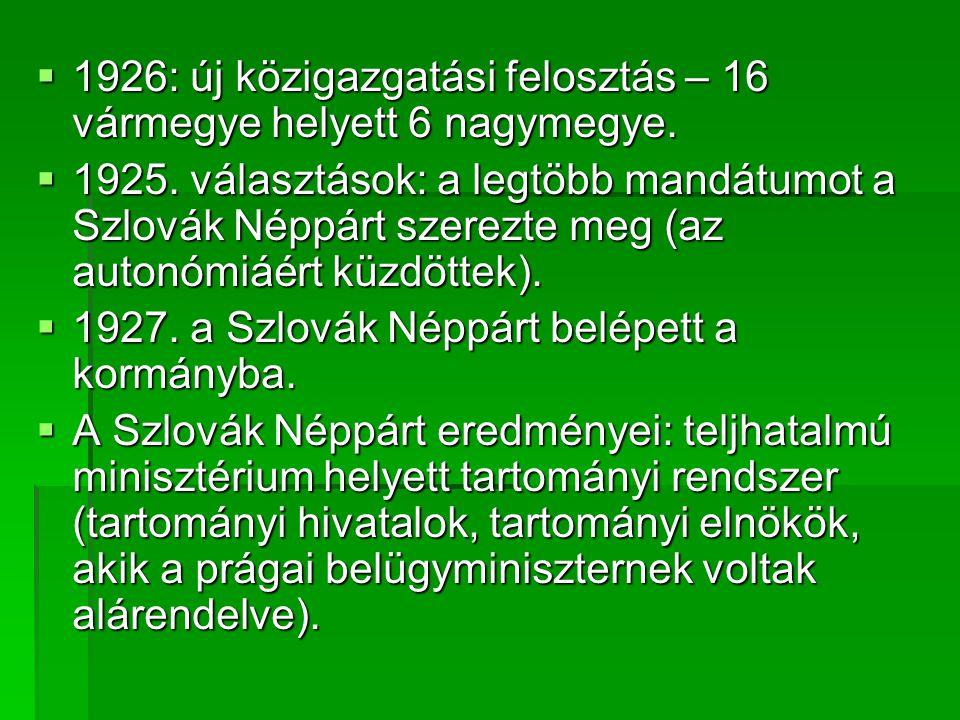 1926: új közigazgatási felosztás – 16 vármegye helyett 6 nagymegye.