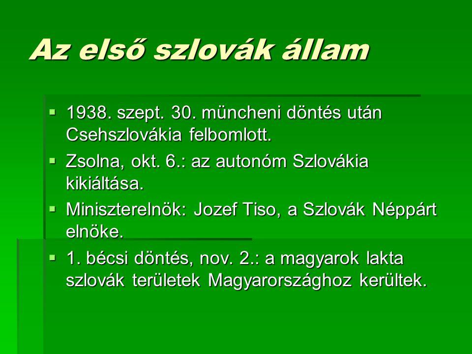 Az első szlovák állam 1938. szept. 30. müncheni döntés után Csehszlovákia felbomlott. Zsolna, okt. 6.: az autonóm Szlovákia kikiáltása.