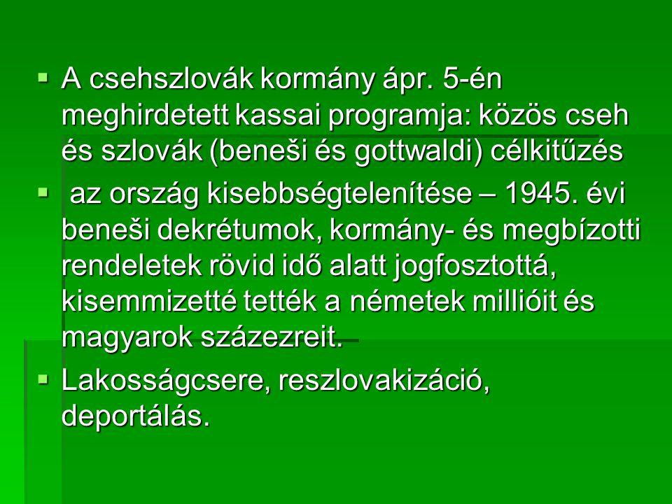 A csehszlovák kormány ápr