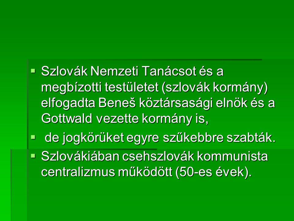 Szlovák Nemzeti Tanácsot és a megbízotti testületet (szlovák kormány) elfogadta Beneš köztársasági elnök és a Gottwald vezette kormány is,