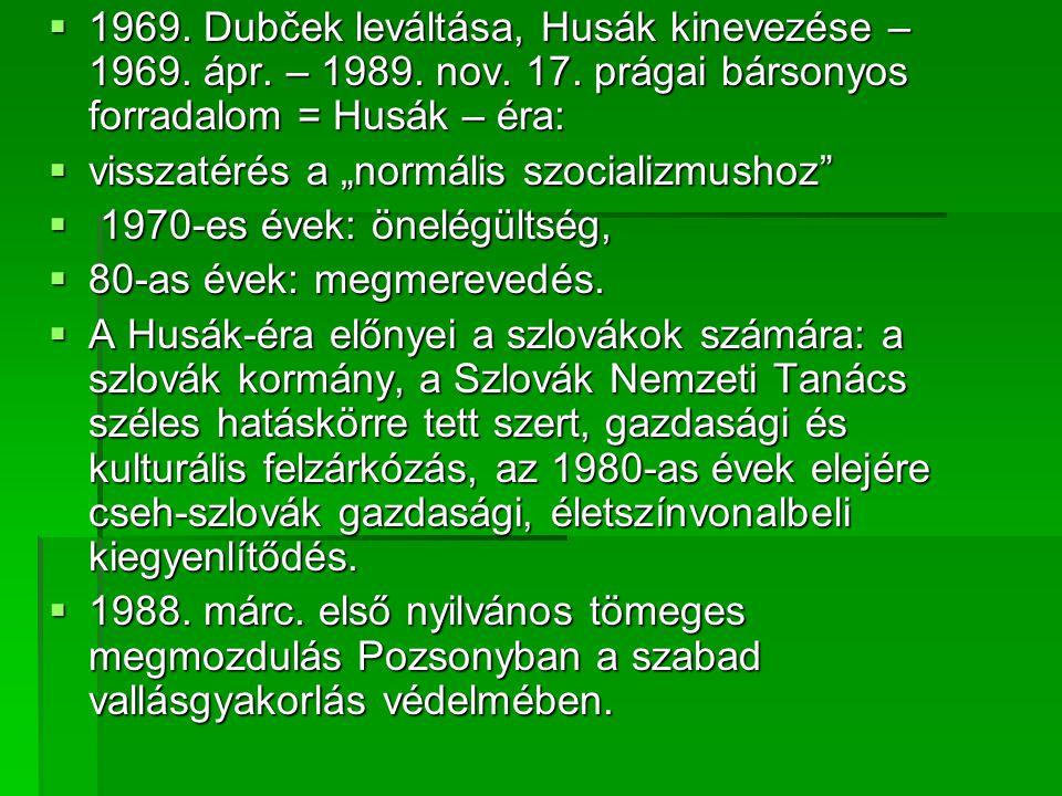 1969. Dubček leváltása, Husák kinevezése – 1969. ápr. – 1989. nov. 17