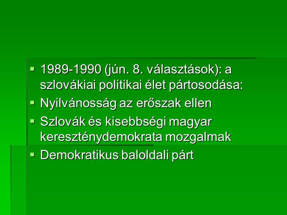 1989-1990 (jún. 8. választások): a szlovákiai politikai élet pártosodása: