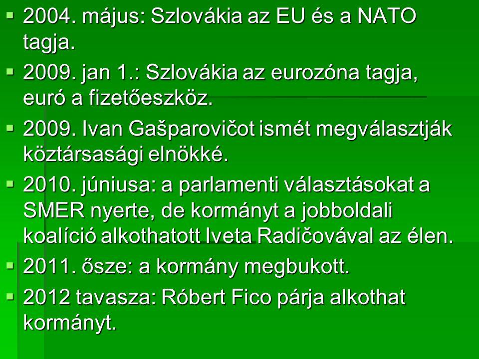 2004. május: Szlovákia az EU és a NATO tagja.