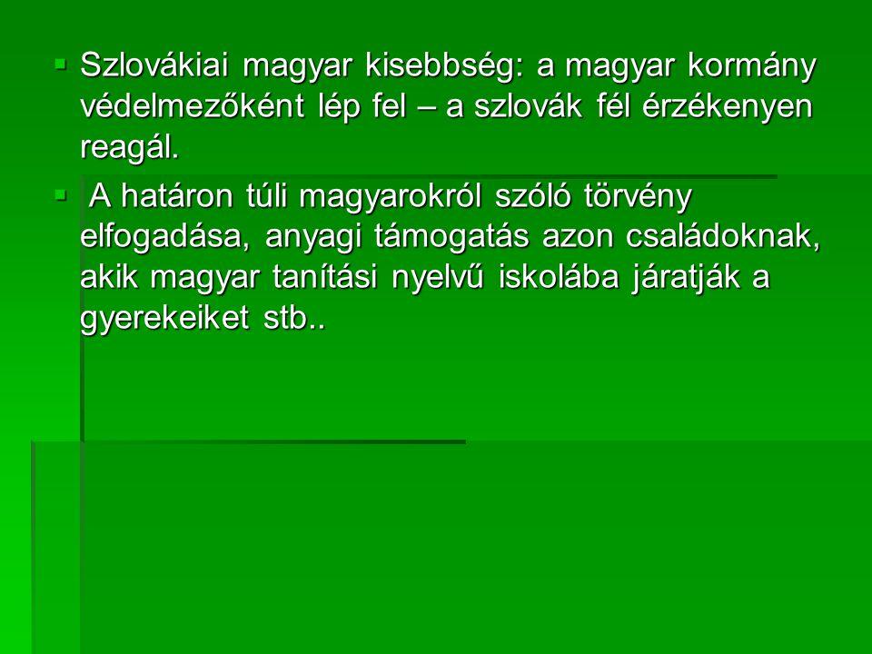 Szlovákiai magyar kisebbség: a magyar kormány védelmezőként lép fel – a szlovák fél érzékenyen reagál.