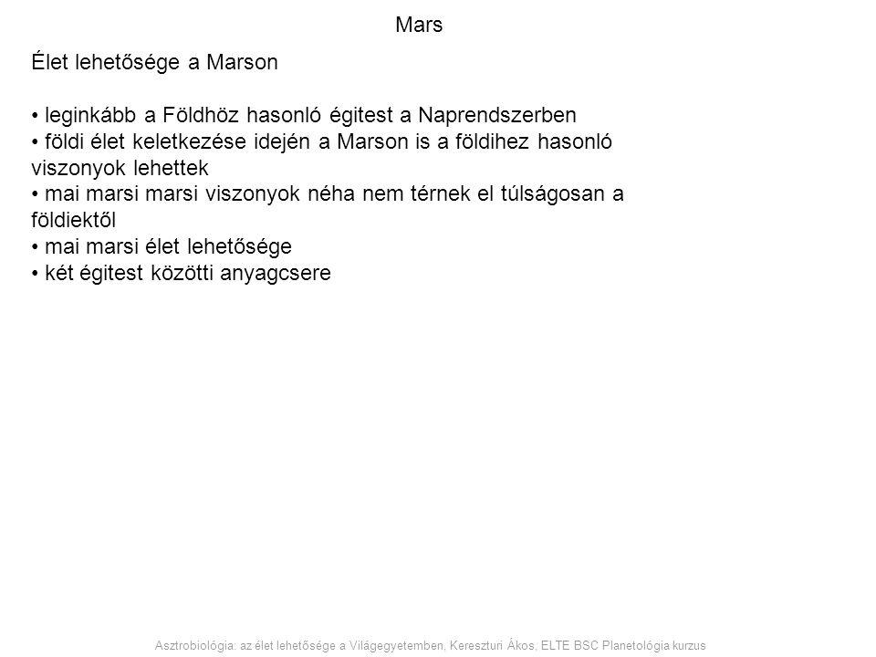 Élet lehetősége a Marson