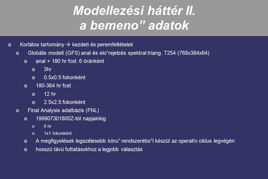 Modellezési háttér II. a bemeno adatok