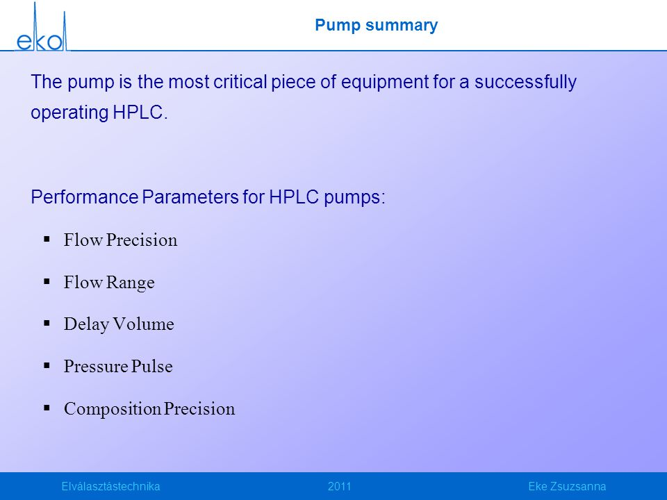 Performance Parameters for HPLC pumps: Flow Precision Flow Range