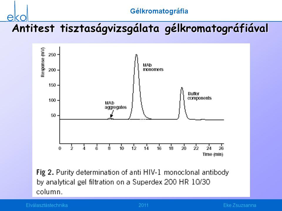 Antitest tisztaságvizsgálata gélkromatográfiával