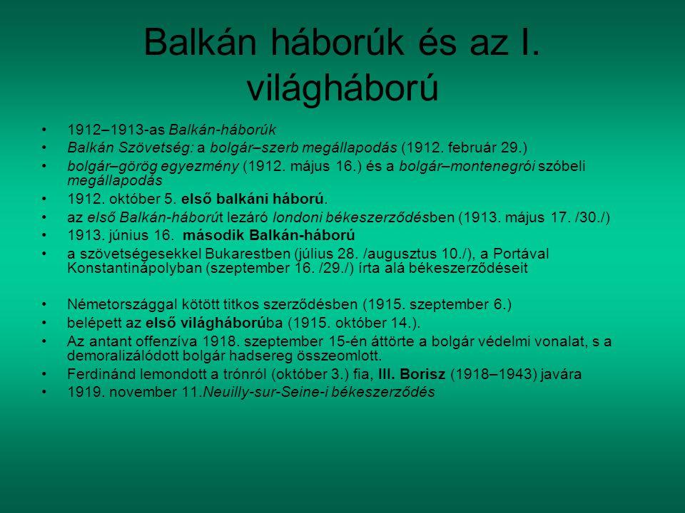 Balkán háborúk és az I. világháború