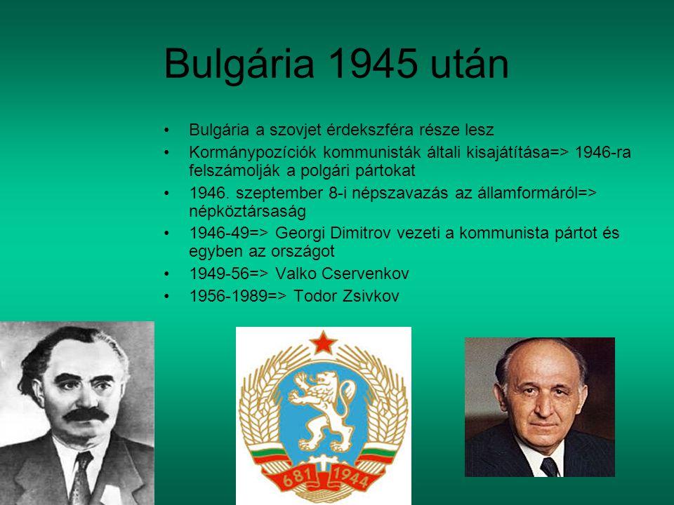 Bulgária 1945 után Bulgária a szovjet érdekszféra része lesz