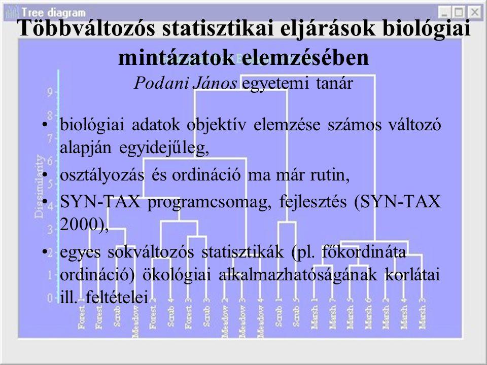 Többváltozós statisztikai eljárások biológiai mintázatok elemzésében Podani János egyetemi tanár