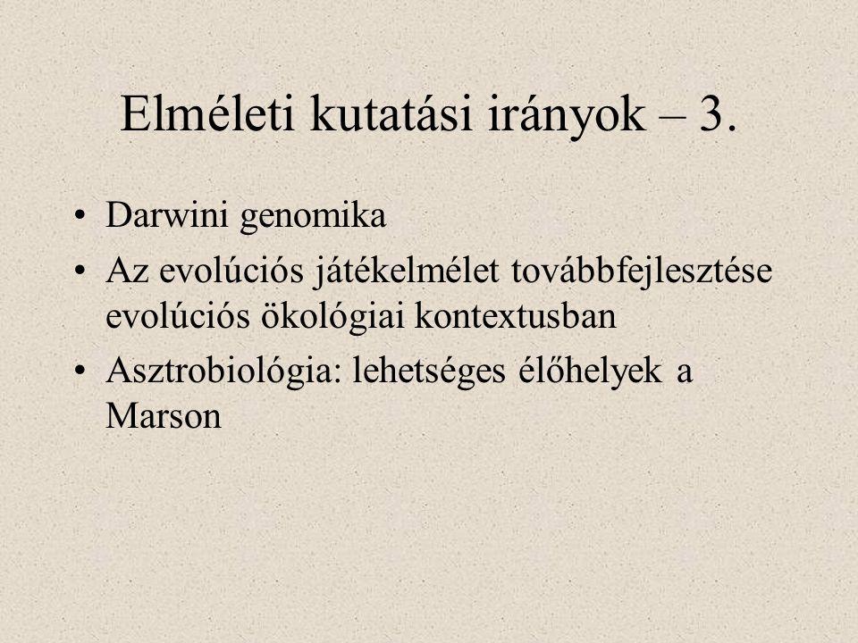 Elméleti kutatási irányok – 3.