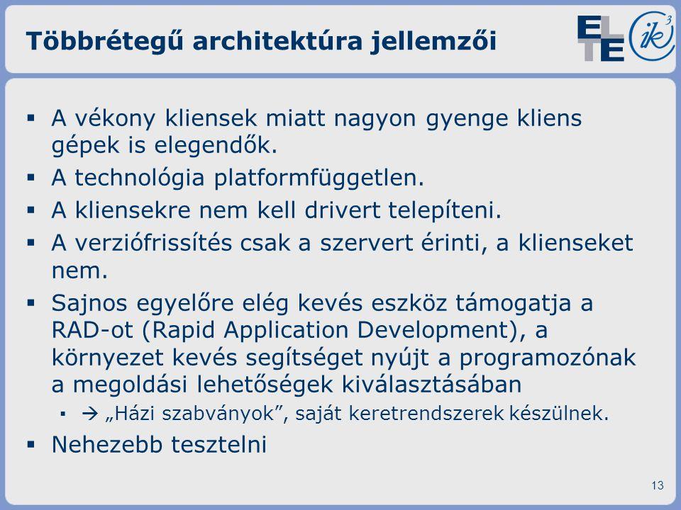 Többrétegű architektúra jellemzői