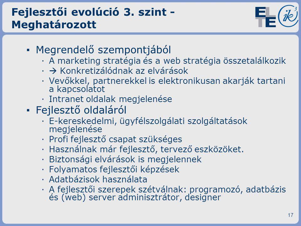 Fejlesztői evolúció 3. szint - Meghatározott