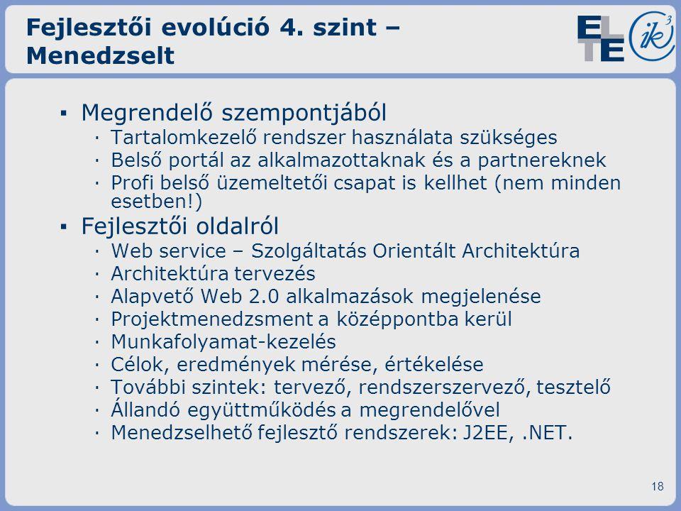 Fejlesztői evolúció 4. szint – Menedzselt