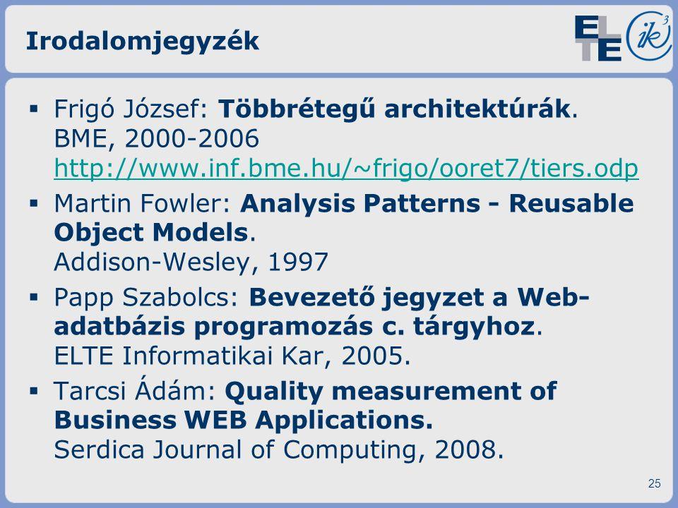 Irodalomjegyzék Frigó József: Többrétegű architektúrák. BME, 2000-2006 http://www.inf.bme.hu/~frigo/ooret7/tiers.odp.