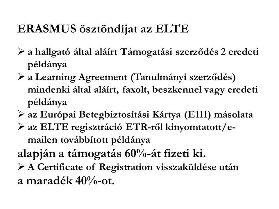 ERASMUS ösztöndíjat az ELTE