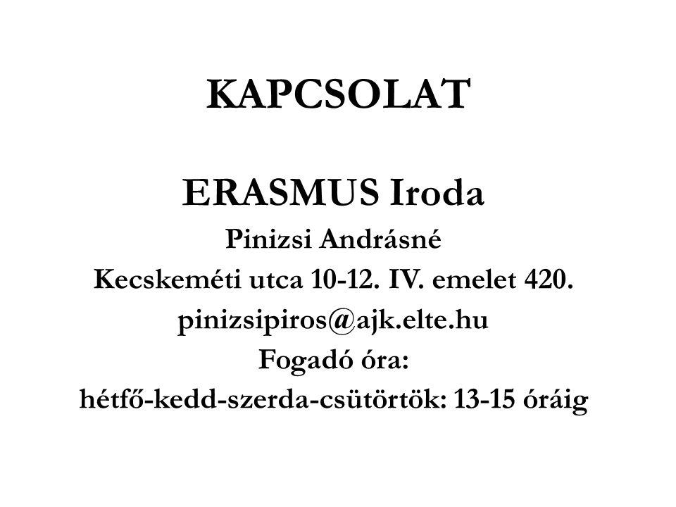 KAPCSOLAT ERASMUS Iroda Pinizsi Andrásné