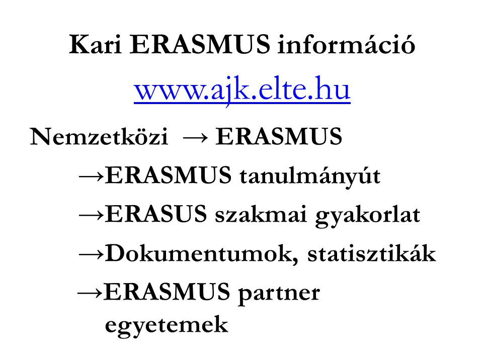 Kari ERASMUS információ
