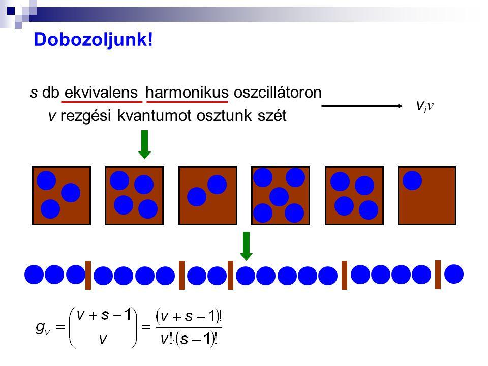 Dobozoljunk! s db ekvivalens harmonikus oszcillátoron v rezgési kvantumot osztunk szét viν