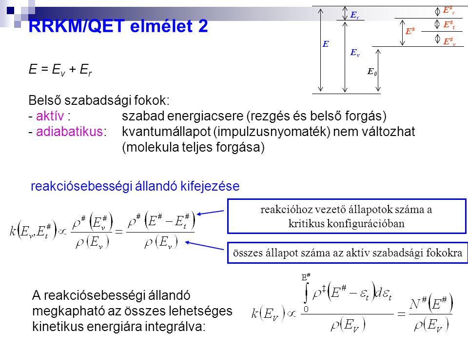 RRKM/QET elmélet 2 E = Ev + Er Belső szabadsági fokok: